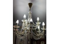 CRYSTAL PENDANT CHANDELIER WITH 9 ARMS AND 9 BULBS POLISHED BRASS