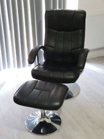 *Price reduced* Black faux leather recliner chair and foot stool