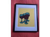 John Lewis Framed Art Print - wine glasses