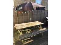 Wooden picnic table heavy duty 6 seater