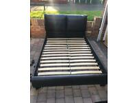 Brown leather double bed frame only
