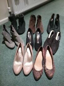 Ladies 4 pairs ankle boots and 4 pairs shoes.