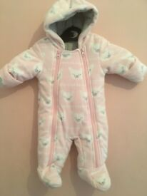 upto 1Month pink polar bear pram suit from M&S