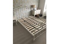 Cream metal bed frame, double.