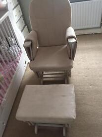 Baby weavers nursing chair with footstool.