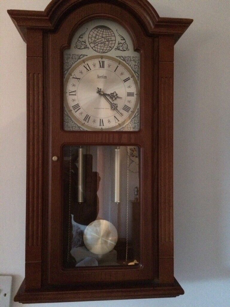 Acctim wall clock grandfather style in mahogany wood in acctim wall clock grandfather style in mahogany wood amipublicfo Choice Image