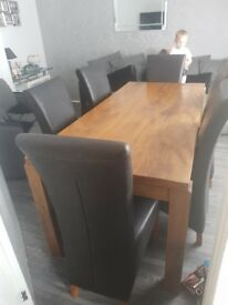 Solid wood dining table x6 leather chairs