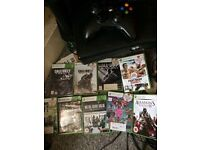 Xbox 360 S console (slim wireless 250gb) with 9 games some top inc GTA 5, Call of Duty etc