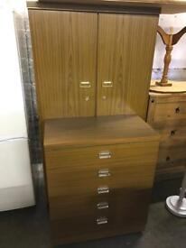 Teak wardrobe and chest of drawers can deliver