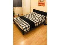 Double bed for sale with mattress - less than 1 yr old - £100