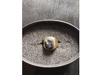 Vintage Men's Intaglio Hematite Roman Head Signet Ring 9ct Gold Stone Size P