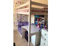 Child's High Bed with Sofabed, Desk, Bookcase