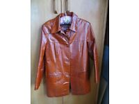 Women's leather jacket - rust brown, Size 14, in excellent condition, for spring and autumn wear