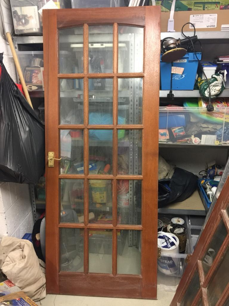 Quality Wooden Doors 15 Glass Panels With Brass Handle