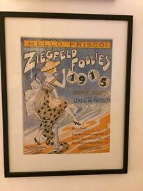 Framed Original American Sheet Music 1915 Ziegefeld Follies £40