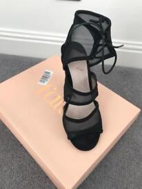 Faith black mesh heels - size 6