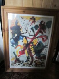 RARE*JACKSON POLLOCK*GLAZED WOOD FRAME ART PRINT(1912-1956) Untitled 1943-1944