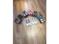 9 PAIRS OF LADIES FLAT SHOES (SIZE6) HARDLY WORN , SOME NEW.