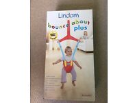 Lindam Bounce about plus. Baby Bouncer, boxed. red & blue