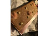Rose Gold Fancy Detailed Clutch Chained Bag