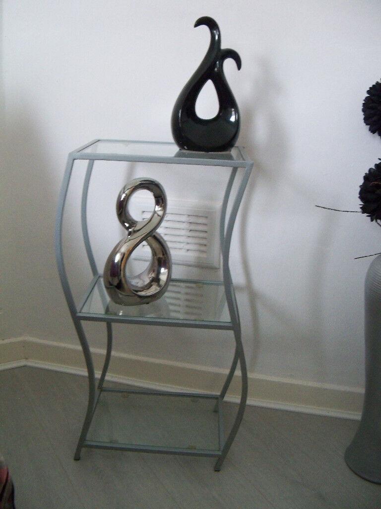 Side Table/Shelf Unit 2 Teir Grey Metal And Glass (Optional Ornaments)