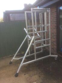 Young man scaffold podium
