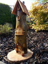 Large Fairy House, Unique Hand Crafted wood carving in Welsh Timbers