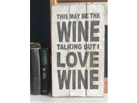 Wine sign present wood art