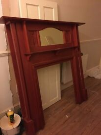 Fireplace Wooden Surround Good Condition Large Wood Stained Mirror Ornate Vintage Solid Wood