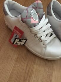 Ladies brand new size 5 trainers ... can be worn 2 ways as tongue twist see pictures..