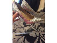 Glittery Silver High Heels Bebo Size 8