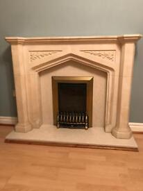 Fire and fireplace marble