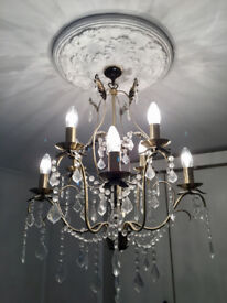 Glass and Bronze coloured Chandelier