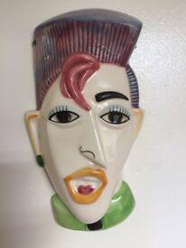 Vintage ceramic wall ornament punk head