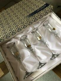 Brand new set of Art Deco champagne flutes