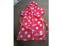 M&S pink/white spot cosy dressin gown age 7-8