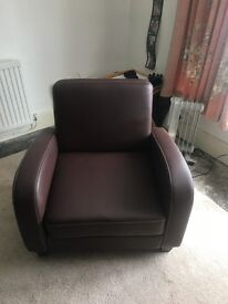 Brown faux leather sofabed with free armchair