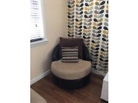 Large corner sofa and swivel chair £300