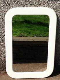 LARGE CURVED RECTANGLE WHITE GLOSS MIRROR
