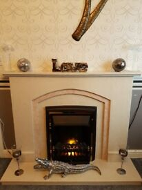 ELECTRIC FIRE AND SOLID MARBLE FIRE SURROUND