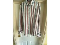 Men's cotton striped shirt with double cuff