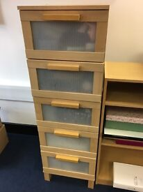 2 x 5 drawer units and 1 x shelving unit