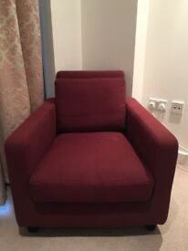 HABITAT Armchair - Fabric, Burgundy (in Excellent Condition)