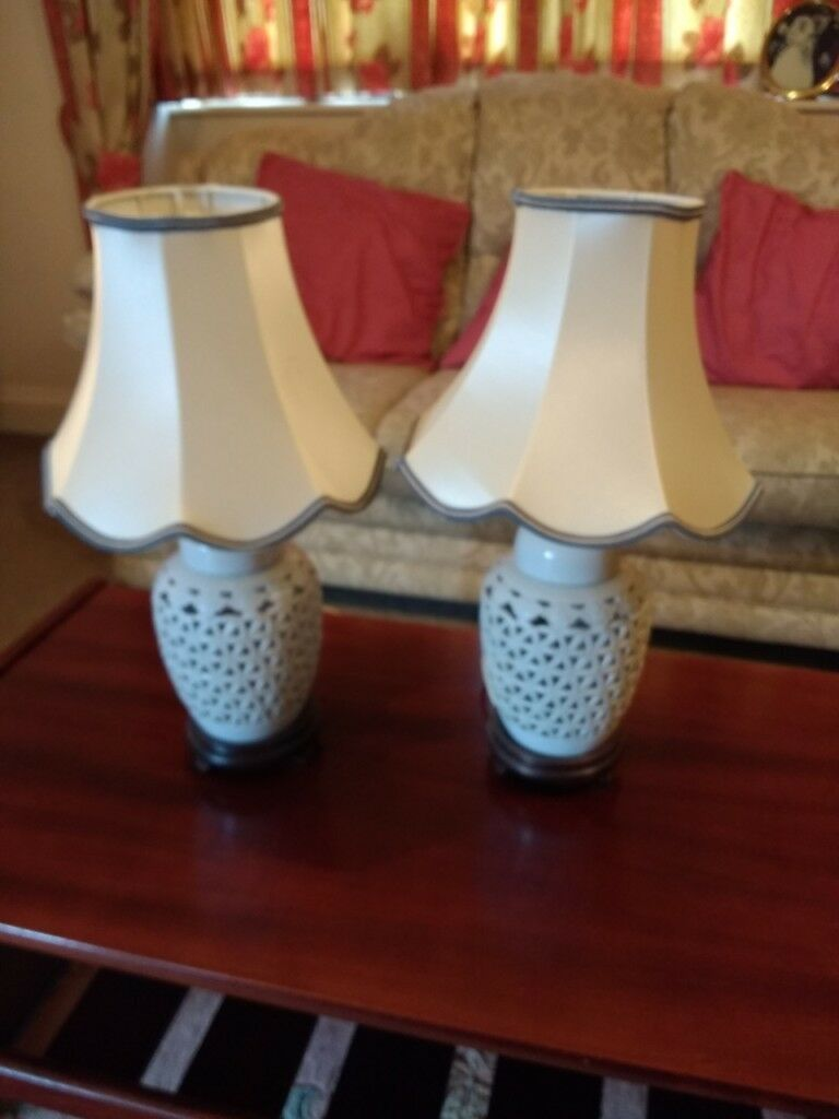 White Ceramic Lattice Table Lamps In Somerset Gumtree