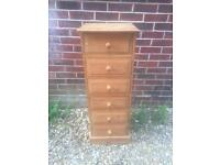 Solid chunky natural pine chest of drawers. Dovetail Joints