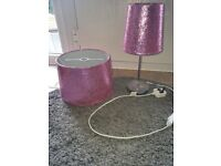 Bedside lamp and matching ceiling shade