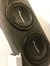 """2x PIONEER SPEAKERS / Subwoofers 12""""/13"""" WITH SUB BOX/ENCLOSURE BOX & WIRINGS"""
