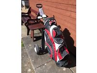 Left-Handed Kids Golf clubs, bag and trolly.
