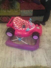 Baby walker pink racing car