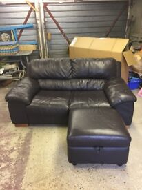 DFS brown leather sofa and storage foot stool